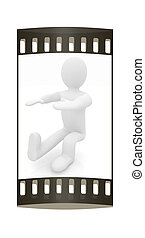 3d man isolated on white. Series: morning exercises - hands with foot forward and squatting on one leg. The film strip