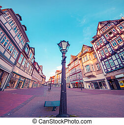 Colorful morning scene in the Wolfenbuttel village. Facade...