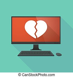 Personal computer with a broken heart