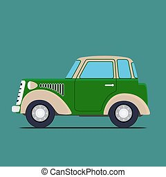 Vintage car. Isolated on green background, Vector...