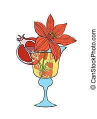 Tropical Love cocktail. Vector illustration. Isolated on...