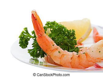 Shrimp dinner - A Shrimp appetizer with lemon and parsley