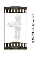 3d man holds a baby on hands. The film strip