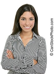 Brunette from India bussinesswoman student portrait isolated...