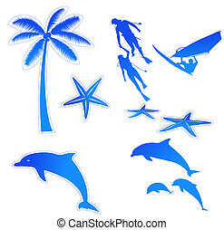 beach icon - drawing of palm,starfish,dolphin,diving and...
