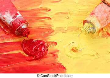 Artist\'s red and yellow paint