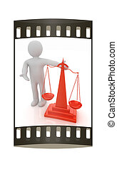 3d people - man, person presenting - scale The film strip