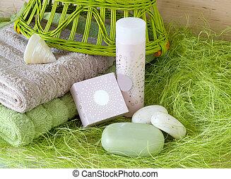 Towels, soap, shampoo