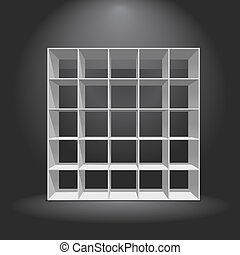 Empty White Bookshelf