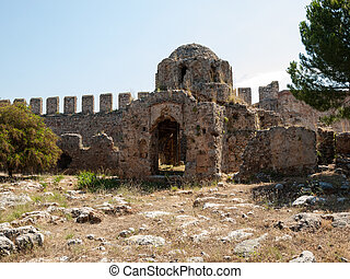 Ruins of a Byzantine church in the castle Ichkale in Alanya,...
