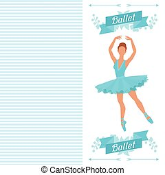 Invitation card to ballet dance show with ballerina