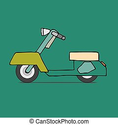 Classic moped - Vector flat design scooter Classic moped,...
