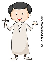 Priest holding a cross sign on a white background