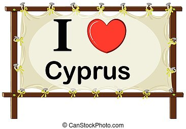 Cyprus - I love Cyprus sign in wooden frame