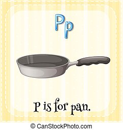 Letter P - Flashcard of a letter P with a picture of a pan