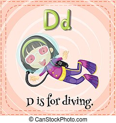 Diving - Flashcard letter D is for diving