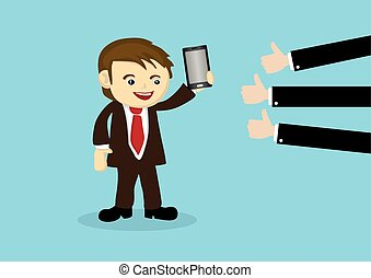 Businessman Selling Mobile Phone to Positive Reviews -...