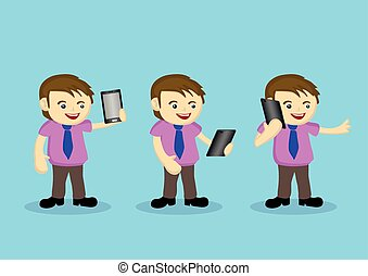 Cute Male Cartoon Character with Necktie and Wireless...