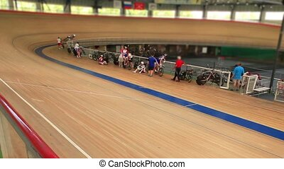 Pursuit cycle race - bike track cycle race tilt film...