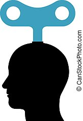Male head with a wind-up key - Illustration of a male head...