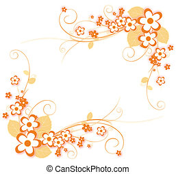 flower pattern - illustration drawing of beautiful orange...
