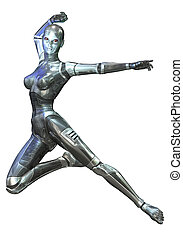 Digital 3D Illustration of a female Cyborg; Cutout on white...