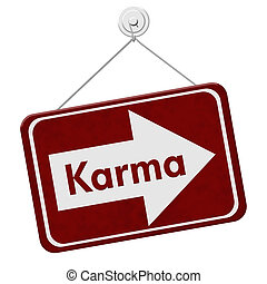 Karma Sign, A red sign with the words Karma isolated on...