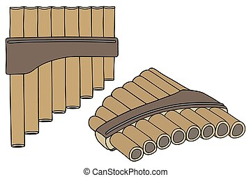Flutes - Hand drawing of two old wooden pipes