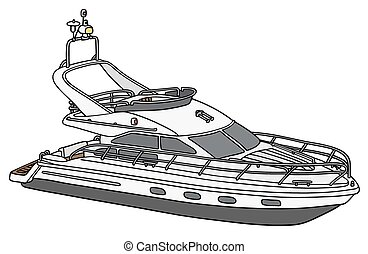 Small motor yacht - Hand drawing of a small motor yacht
