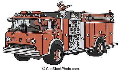 Old firetruck - Hand drawing of a classic fire truck - not a...