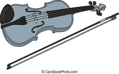 Blue violin - Hand drawing of a classic blue violin