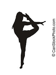 contortion - the silhouette of a rhythmic gymnastics athlete