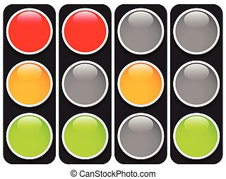 Traffic lights, traffic lamps isolated on white Semaphores...