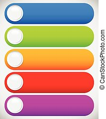 Set of colorful button, banner backgrounds, bars with circles. Editable vector.