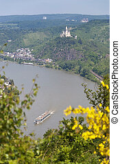 Marksburg Castle at the River Rhine in Germany