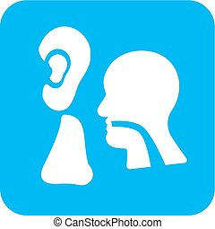 Eear, Nose, Throat - Ear, nose, throat, ent, icon vector...