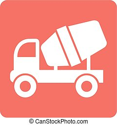 Cement Mixer - Mixer, vehicle, truck icon vector image Can...