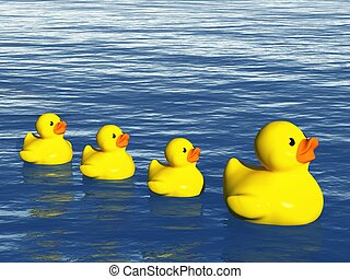 Rubber Duck Family on the Ocean