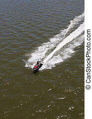 Watercraft Crossing Gulf Coast - Man On Recreational...