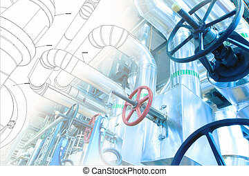 Sketch of piping design mixed with industrial equipment...