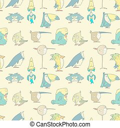 Birds Seamless Background pattern for design and scrapbook in vector