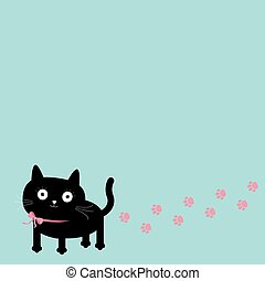 Cartoon cat and paw print track in the corner. Frame template.