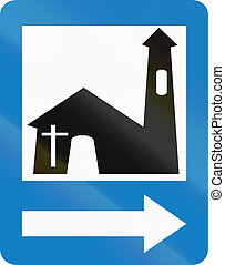 Church in Colombia - Colombian traffic sign: Church services...