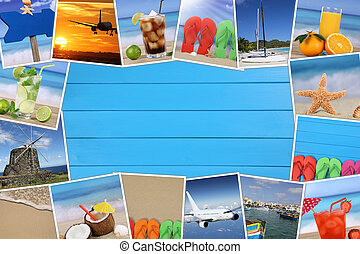 Frame with photos from summer vacation, beach and copyspace on wooden board
