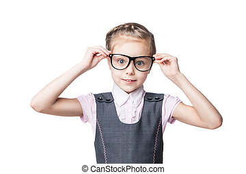 Funny little girl in glasses - Portrait of a funny little...