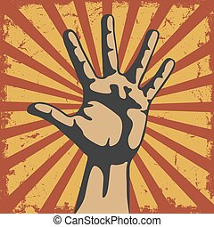 Gesture of hand in a vector grunge - The vector image of...