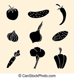 Vector Set of Vegetables Icons.