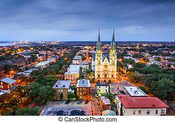 Savannah, Georgia downtown skyline at the Cathedral.