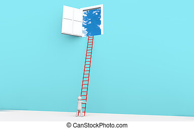 3d man with ladder to a door in sky