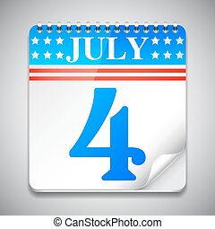 Fourth July Calendar - Vector illustration of fourth july...